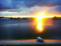 Wschód słońca Przy jeziorem Zdjęcia Stock