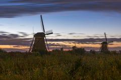 Wschód słońca przy Kinderdijk fotografia stock