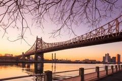 Wschód słońca przy królowa mostem Zdjęcia Stock