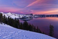 Wschód słońca przy Krater jeziorem Fotografia Royalty Free