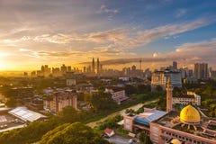 Wschód słońca przy Kuala Lumpur centrum miasta Obrazy Royalty Free