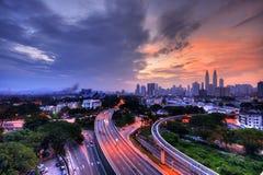 Wschód słońca przy Kuala Lumpur od zapamiętania mieszkania Zdjęcia Royalty Free