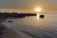 Wschód słońca przy kwatery głównej Santa plażowym pole Zdjęcia Royalty Free