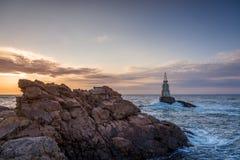 Wschód słońca przy latarnią morską w Ahtopol, Bułgaria Zdjęcia Royalty Free