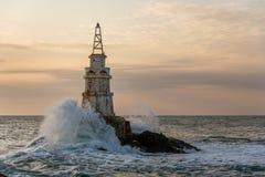 Wschód słońca przy latarnią morską w Ahtopol, Bułgaria Fotografia Royalty Free