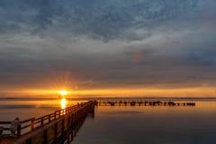 Wschód słońca przy Merritt wyspą, Floryda Fotografia Royalty Free