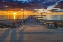 Wschód słońca przy morzem bałtyckim, Palanga Obrazy Royalty Free