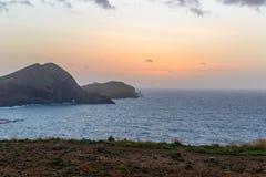 Wschód słońca przy morzem w Atlantyckim oceanie na wyspie madera Obraz Stock