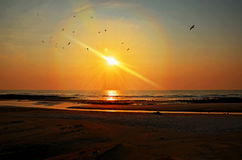 Wschód słońca przy Pantai Batu Hitam Zdjęcia Stock