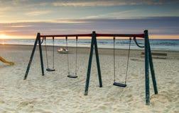 Wschód słońca przy piaskowatą plażą Jurmala Latvia fotografia royalty free