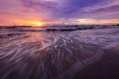 Wschód słońca przy plażą. Fotografia Royalty Free