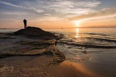 Wschód słońca przy Ravda, Bułgaria Zdjęcia Royalty Free