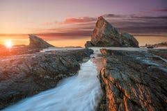 Wschód słońca przy słoń skałą w Queensland zdjęcie royalty free