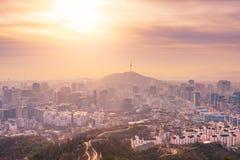 Wschód słońca przy Seul miasta linią horyzontu najlepszy widok Południowy Korea Fotografia Royalty Free