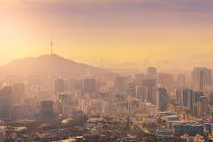 Wschód słońca przy Seul miasta linią horyzontu najlepszy widok Południowy Korea Obrazy Stock