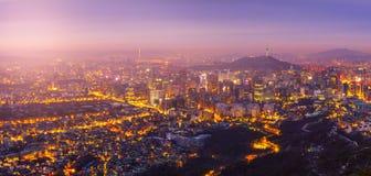 Wschód słońca przy Seul miasta linią horyzontu najlepszy widok Południowy Korea Zdjęcie Royalty Free