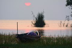 wschód słońca przy Songkhla jeziorem Zdjęcia Royalty Free