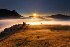 Wschód słońca przy Urkiola Fotografia Royalty Free