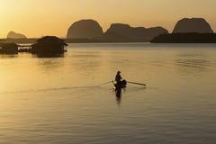 Wschód słońca Przy wioską rybacką Obrazy Royalty Free