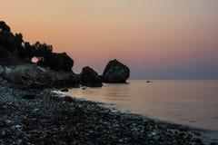 Wschód słońca skały i kamienie Obrazy Stock
