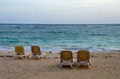 Wschód słońca, Tropikalna plaża, republika dominikańska Fotografia Stock