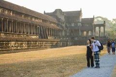 Wschód słońca w Angkor Wat, Siem Przeprowadza żniwa Kambodża Zdjęcie Stock