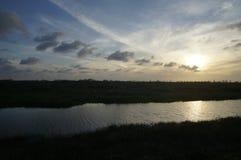 Wschód słońca w bagnie obraz stock