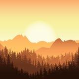 Wschód słońca w górze Wektor Krajobrazowa ilustracja Obrazy Royalty Free