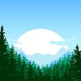 Wschód słońca w górze Wektorowy lata lub wiosny krajobraz ilustracja wektor