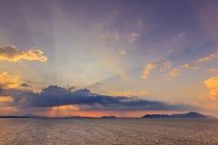 Wschód słońca w Ionian wyspach Obrazy Stock