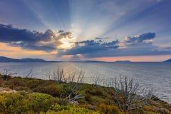 Wschód słońca w Ionian wyspach Zdjęcia Royalty Free