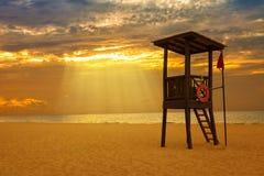 Wschód słońca w Karaibskiej plaży Obrazy Stock