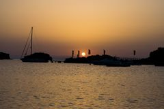 Wschód słońca w Lindos obraz royalty free