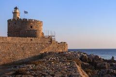 Wschód słońca w Mandraki schronieniu Rhodes, Grecja Zdjęcie Stock