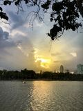 Wschód słońca w miasto parku z kaczki łodzią na stawie zdjęcie royalty free