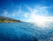 Wschód słońca w morzu Zdjęcie Royalty Free