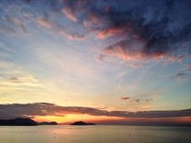Wschód słońca w nha trang zatoce Obrazy Royalty Free
