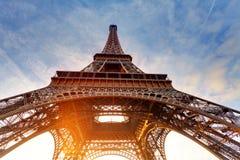Wschód słońca w Paryż, z wieżą eifla Obraz Royalty Free