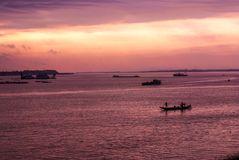 Wschód słońca w Phnom Penh Fotografia Royalty Free