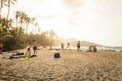 Wschód słońca w plaży w Kolumbia, Caribe obrazy stock