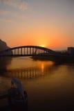 Wschód słońca w porcie zdjęcia stock