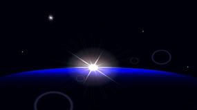 Wschód słońca w przestrzeni Fotografia Royalty Free