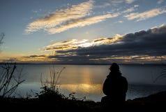 Wschód słońca w samotności Zdjęcia Royalty Free
