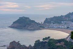 Wschód słońca w wiosce Tossa De Mar, Costa brava Obrazy Royalty Free