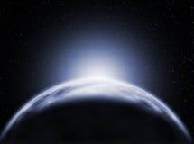 Wschód słońca, widok Lodowa planeta royalty ilustracja