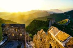 Wschód słońca wielki mur Obrazy Royalty Free