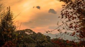 Wschód słońca z pięknym niebem i górą w Japan tle Fotografia Royalty Free