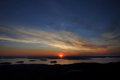Wschód słońca z wierzchu Cadillac góry fotografia royalty free