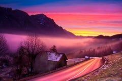 wschód słońca zimy. Zdjęcie Stock