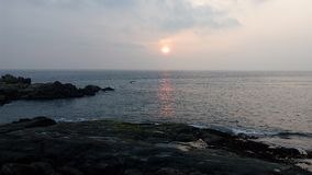 Wschód słońca, zmierzch, Kovalam plaża, Thiruvananthapuram, Kerala Fotografia Royalty Free